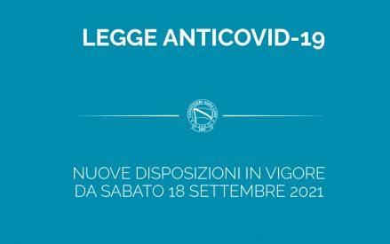COVID-19: NUOVE DISPOSIZIONI IN VIGORE DAL 18/09/21
